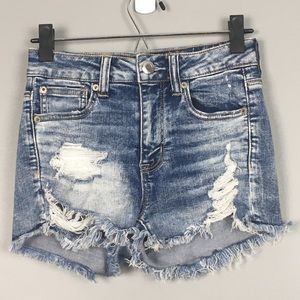 American Eagle Destructed High Rise Jean Shorts
